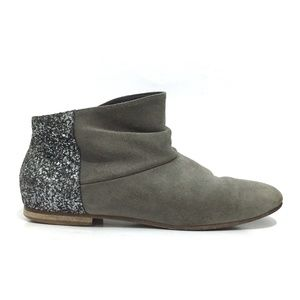 Anniel Slouchy Suede Leather Glitter Booties